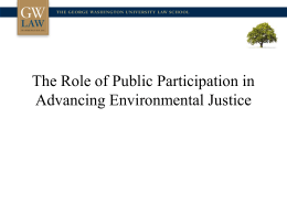 The Role of Public Participation in Advancing