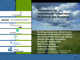 Instruments for International Cooperation in Science …