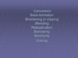 Conversion Back-formation Shortening or clipping …