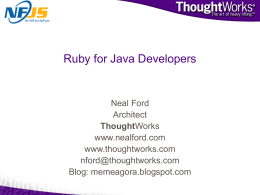 Ruby for Java Developers - Apache Software Foundation