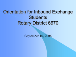 Orientation for Inbound Exchange Students Rotary …