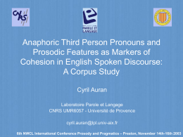 Anaphoric Third Person Pronouns and Prosodic …
