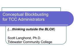 Conceptual Blockbusting for TCC Administrators