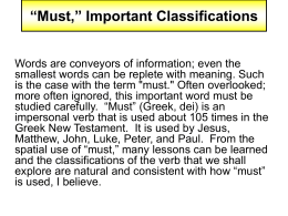 "Must,"" Important Classifications"
