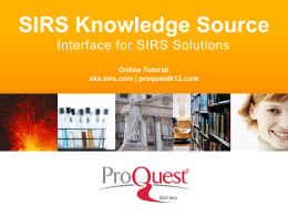 SIRS Knowledge Source PPT - ProQuest
