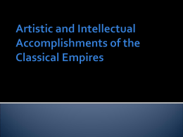 Artistic and Intellectual Accomplishments of the Classical
