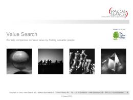 Value Search - Company presentation