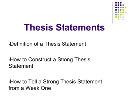 Thesis Statements - Abington Heights School District