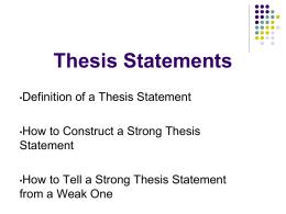 Thesis Statements - Abington Heights School District