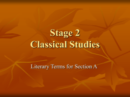 Classical Studies. - South Australian Certificate of Education