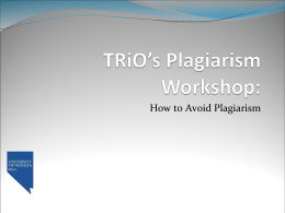 TRiO's Plagiarism Workshop