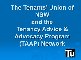 The Tenants' Union of NSW and the Tenancy Advice