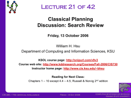 CIS730-Lecture-21-20061013 - Kansas State University