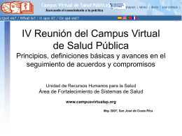 Virtual Campus for Public Health: Building the Strategic …
