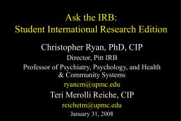 Preparing Psychosocial Research Protocols for IRB …