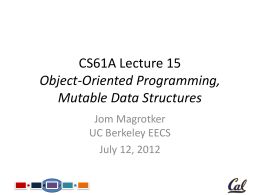 CS61A Lecture 11 Immutable Trees