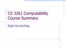 CS 3261 Computability Course Summary