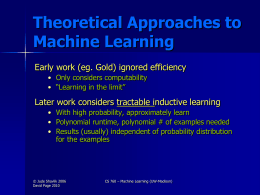 Computational Learning Theory (UPDATED)
