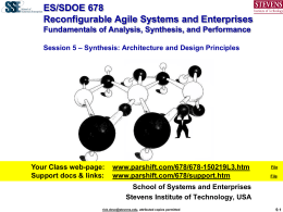 SDOE 780 Engineering of Agile Systems and Enterprises