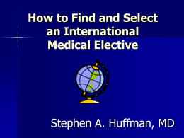 How to Select an International Medical Opportunity