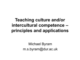 Teaching culture and/or intercultural competence
