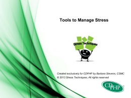 Tools to Manage STRESS