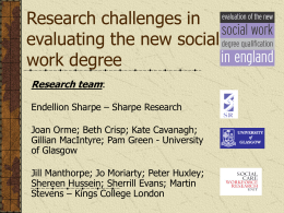 Research challenges in evaluating the new social work degree