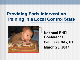 Training Needs: Early Intervention ~ Deaf/Hard of Hearing