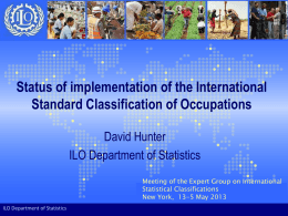 Status of work on the International Classification of