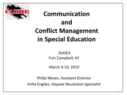 Communication and Conflict Management in Special …