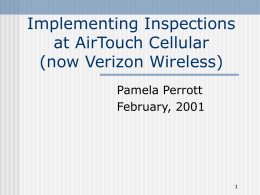 Implementing Inspections at AirTouch Cellular