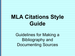 MLA Citations Style Guide
