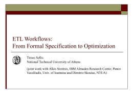 Formal Specification and Optimization of ETL Workflows