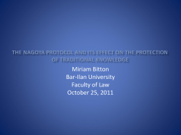 the Nagoya Protocol and its effect on the protection of