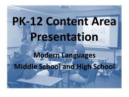 PK-12 Content Area Presentation