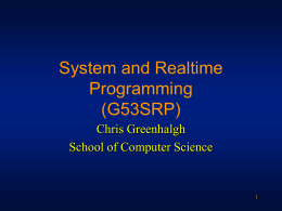 System and Realtime Programming (G53SRP)