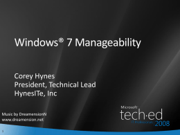 Windows 7 Manageability PPT with Speaker Notes