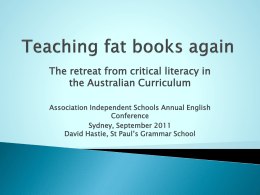 Teaching Fat Books Again - Association of Independent