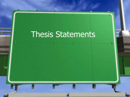 Thesis Statements - Plain Local School District