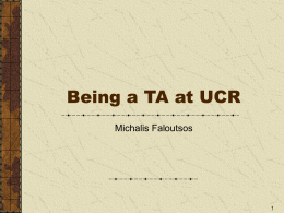 Being a TA at UCR