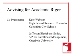 Advising for Academic Rigor