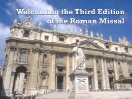 Welcoming the Third Edition of the Roman Missal