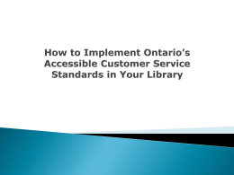 How to Implement Ontario's Accessible Customer Service