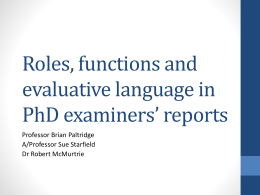 Roles, functions and evaluative language in PhD …