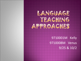 Language teaching approaches - I