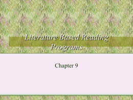 Literature Based Reading Programs