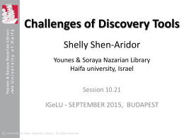 Challenges of Discovery Tools