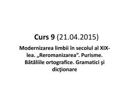 Curs 9 (21.04.2015) - Universitatea din București