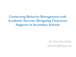 Connecting SW-PBIS to the Classroom: Designing …
