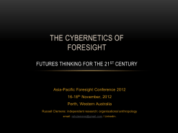 The Cybernetics of Foresight Futures Thinking for the 21st